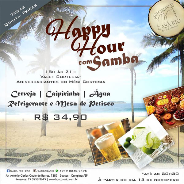 Todas as Quintas Happy Hour com Samba no Bar Casa