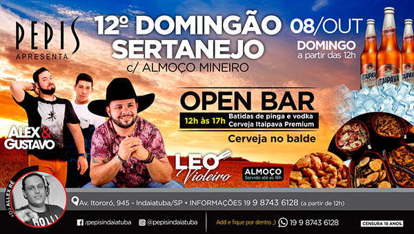 12º DOMINGÃO SERTANEJO COM ALMOÇO MINEIRO! - PEPIS PIZZA BAR, Indaiatuba-SP