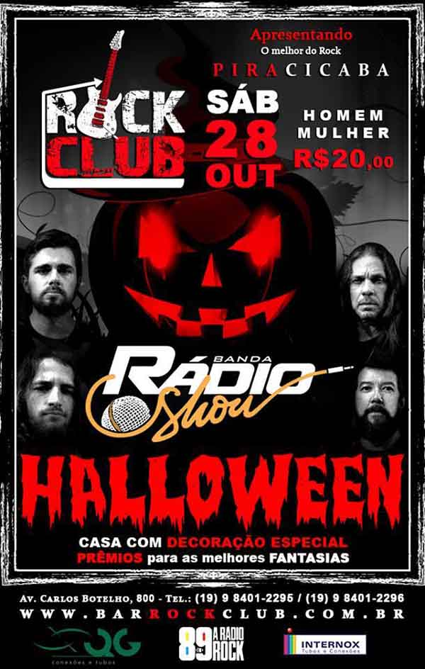 Halloween com a banda Radio Show no Rock Club Pira - Rock Club Piracicaba, Piracicaba-SP